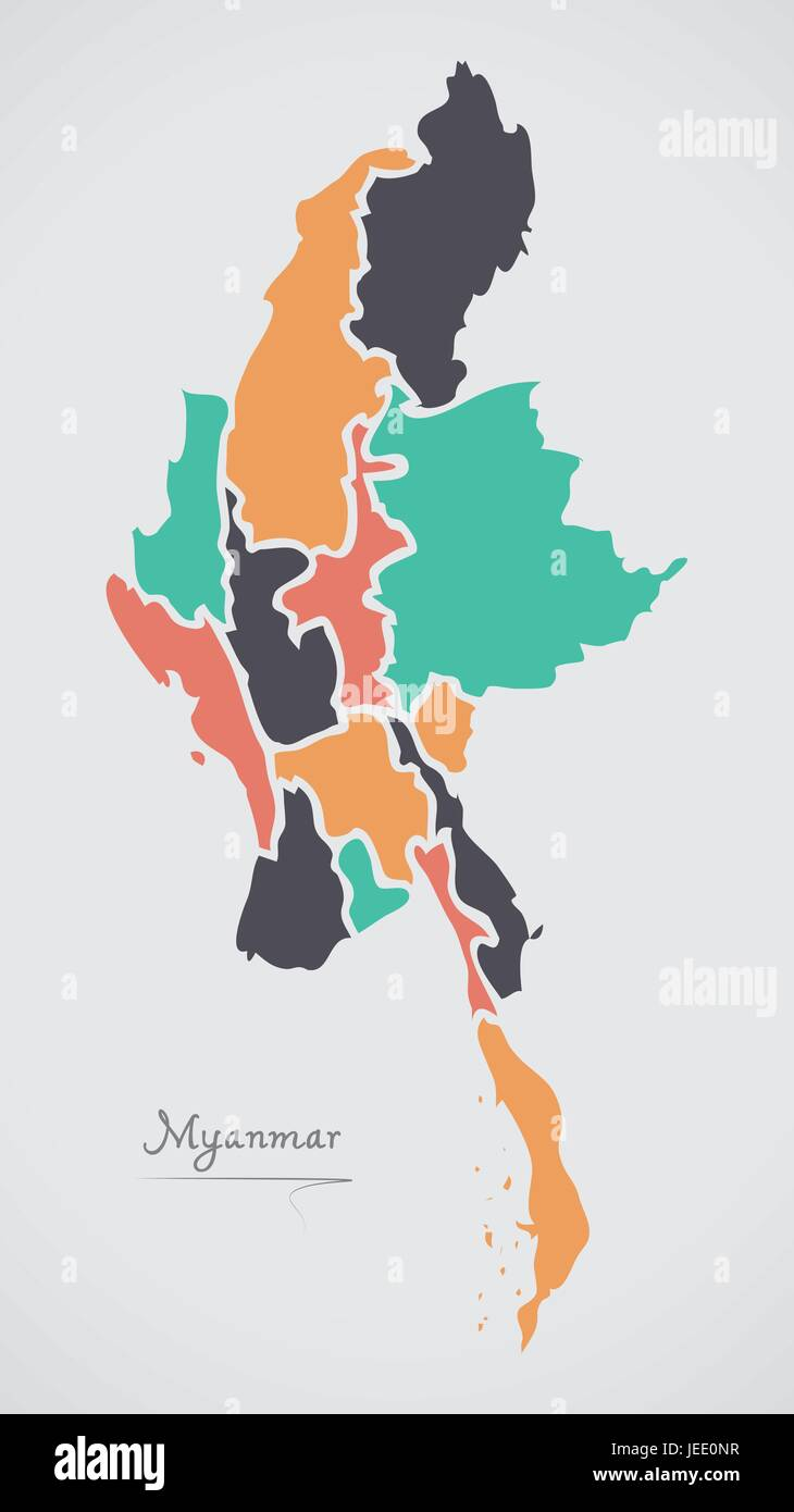 Myanmar Map with states and modern round shapes - Stock Vector
