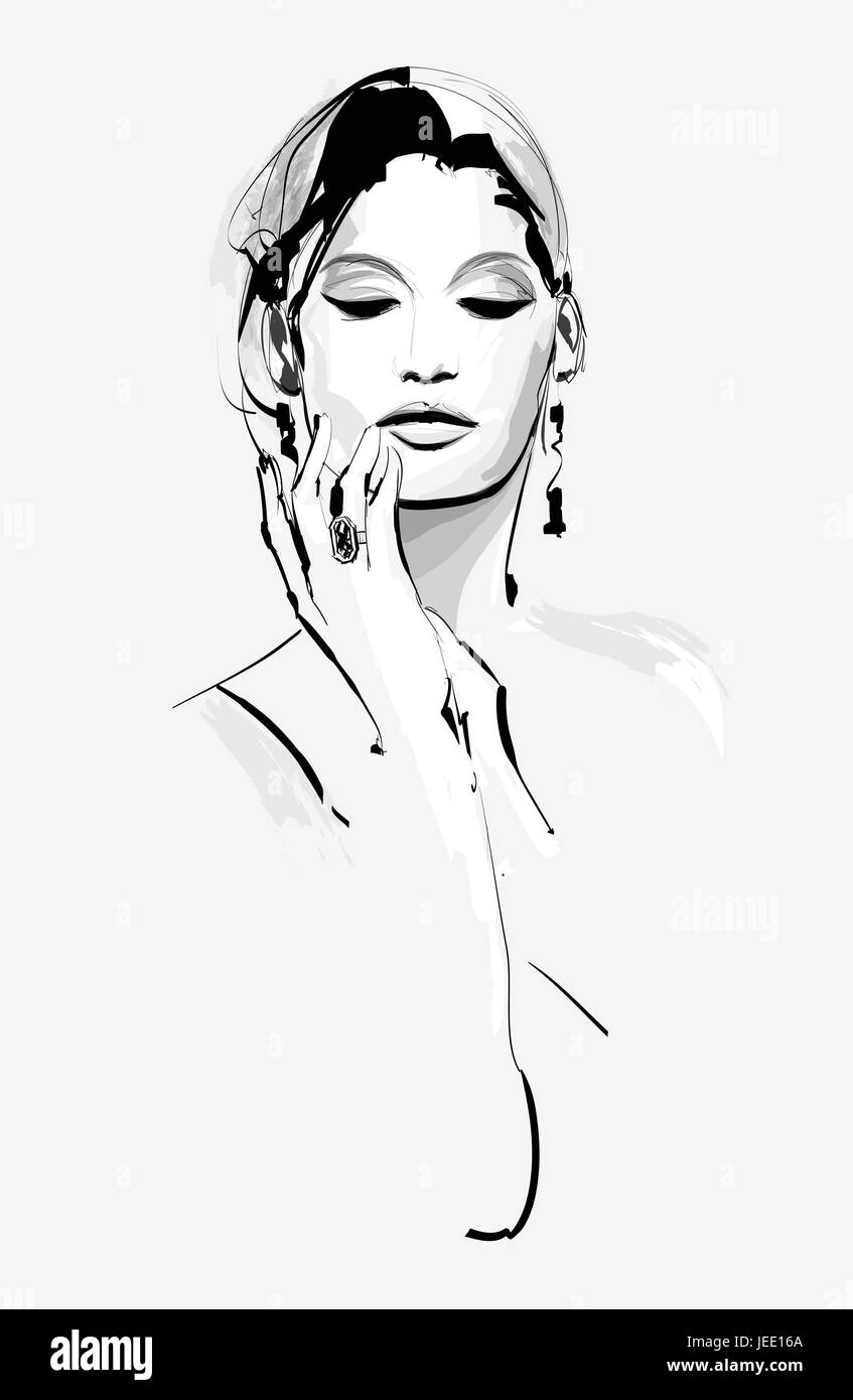 Drawing of a beautiful woman vector illustration