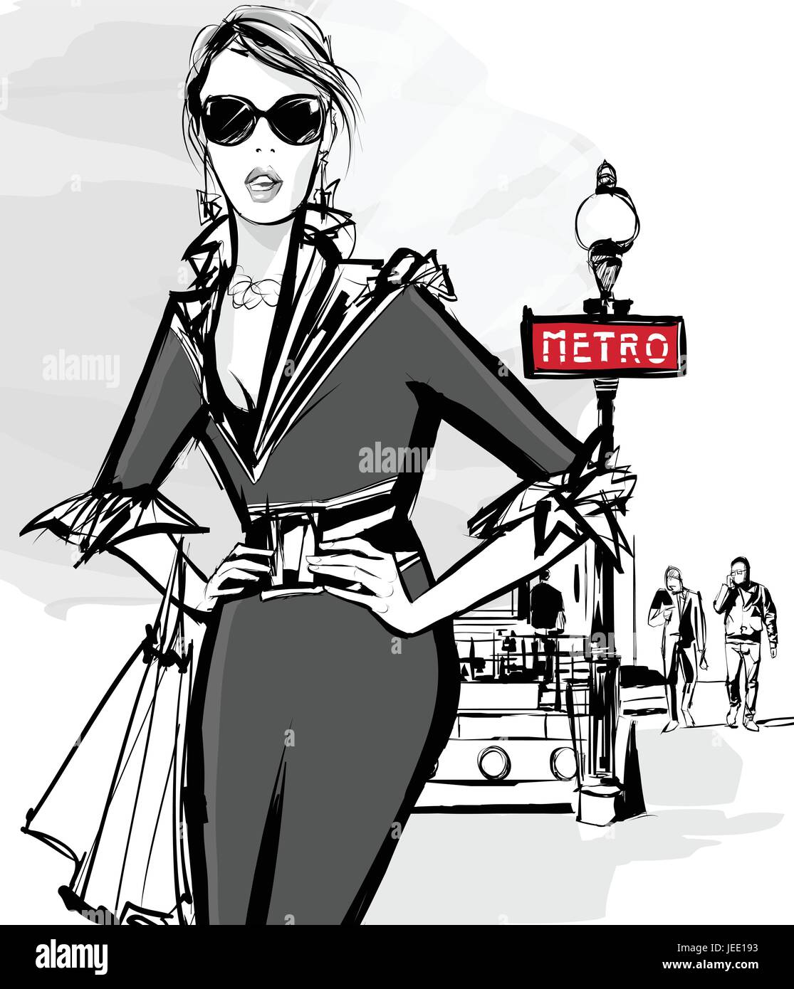 Fashion woman model shopping in Paris using underground - Vector Illustration - Stock Image