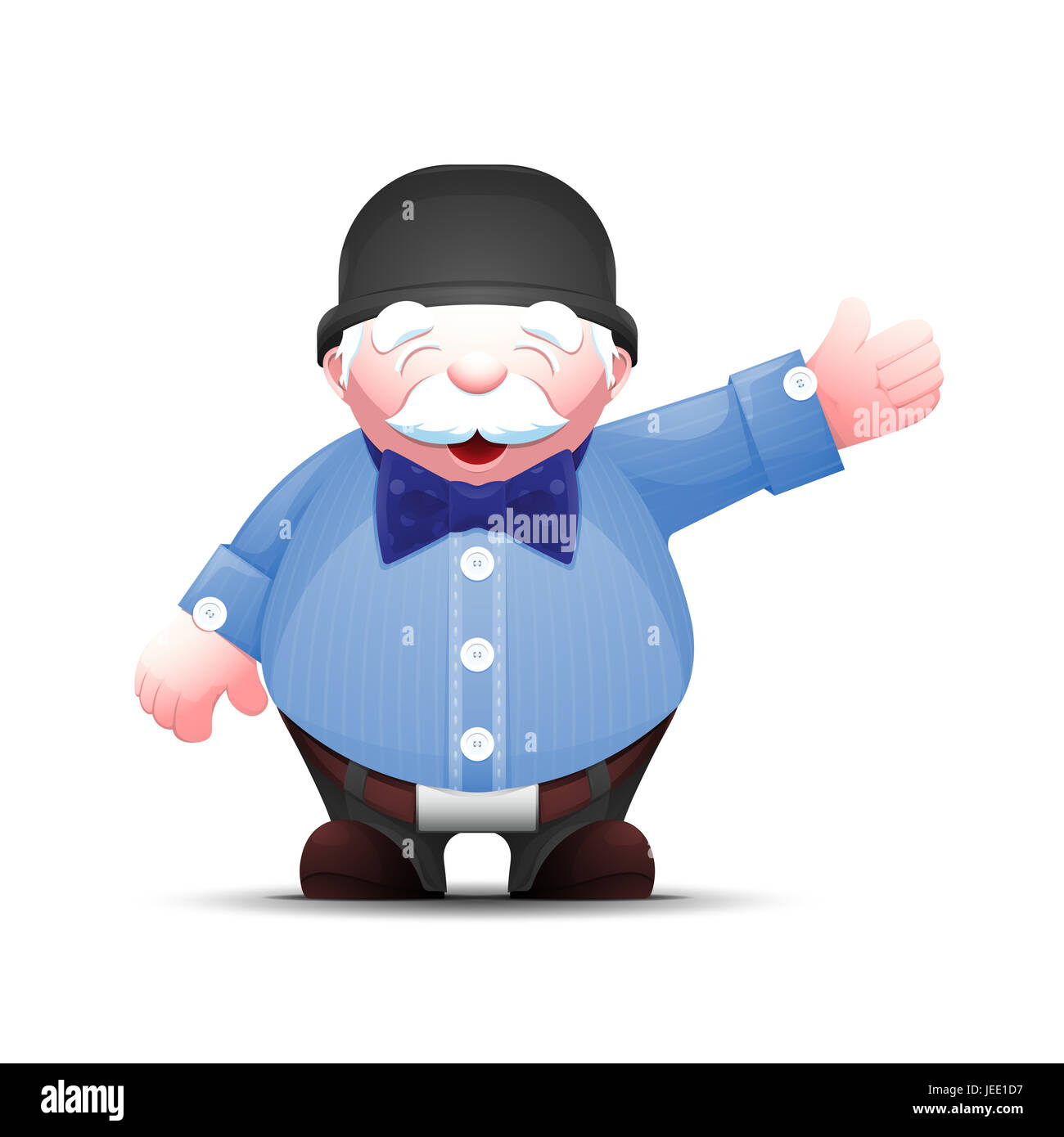 Positive senior man points hand to the side. Old businessman stands and points to something. Elegant cartoon gentleman - Stock Image