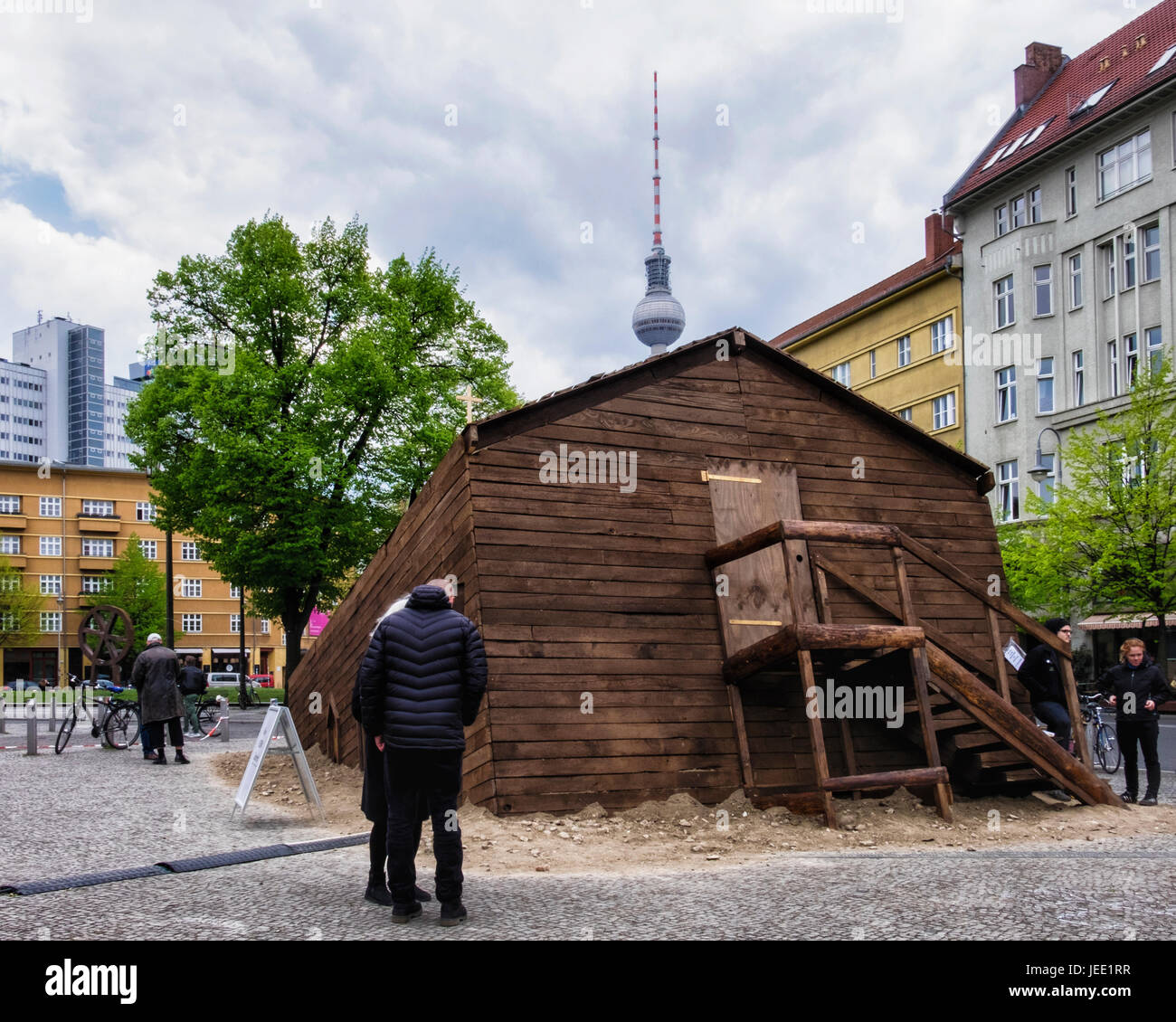 Berlin,Mitte,Rosa-Luxemburg-Platz, Sinking wooden church, a musical theatre project called 'The Bible' by the church - Stock Image