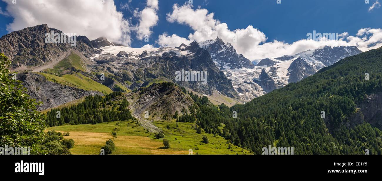 La Meije Glacier from the village of La Grave in Ecrins National Park. Hautes-Alpes. Alps, France - Stock Image