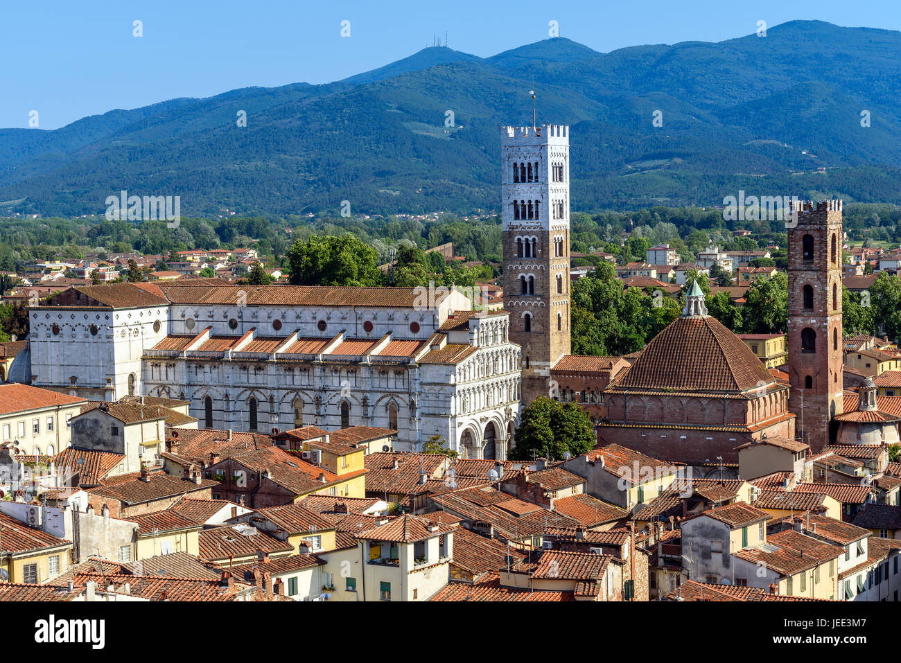 medieval town of Lucca with St. Martin cathedral, tuscany, italy - Stock Image