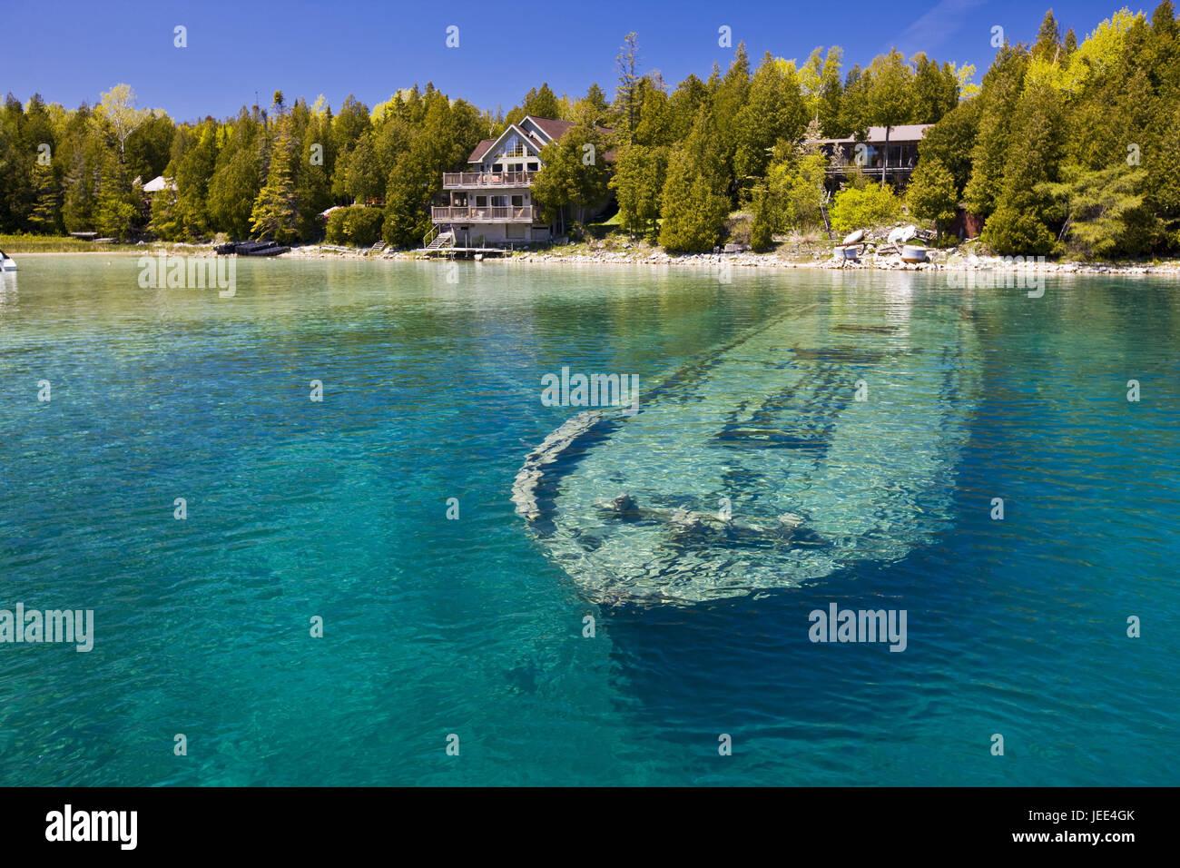 Canada, Ontario, brine Huron, Big Tub Harbour, water, ship