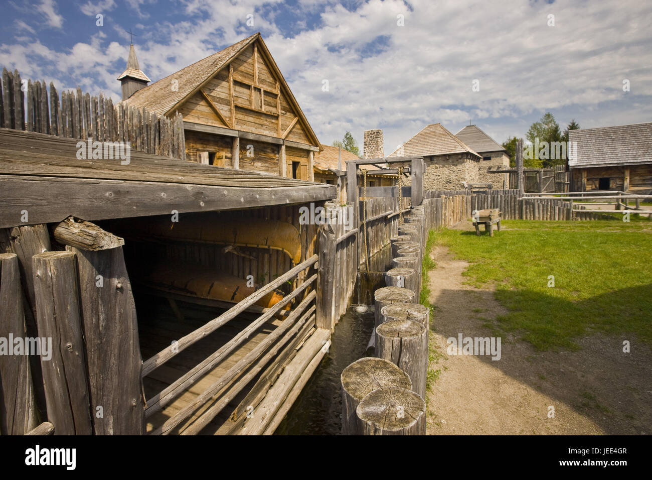 Canada, Ontario, Midland, Sainte-Marie among the Hurons, timber houses, boathouse, canoes, - Stock Image