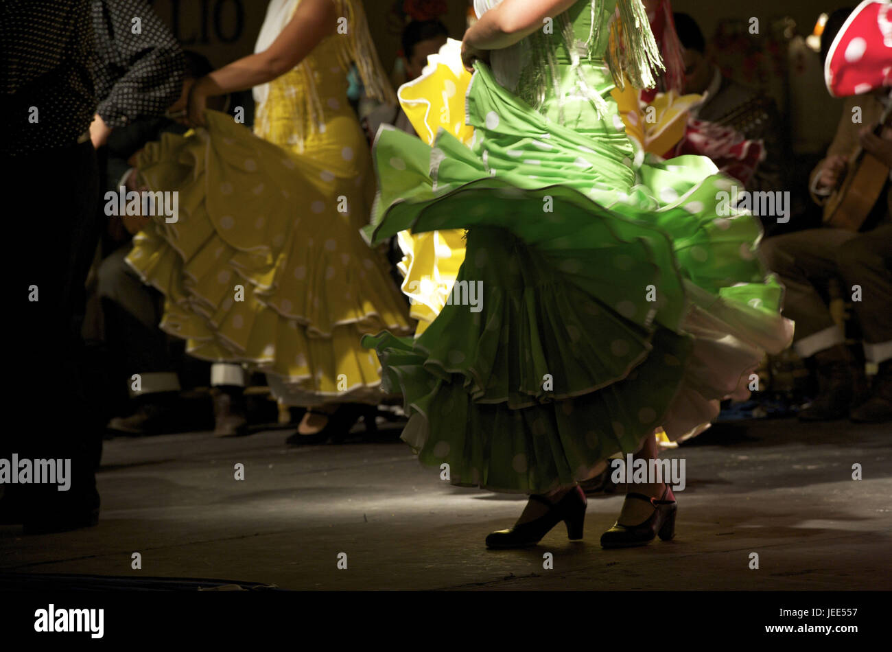 Spain, Andalusia, Granada, flamenco, dancers, blowing clothes, - Stock Image