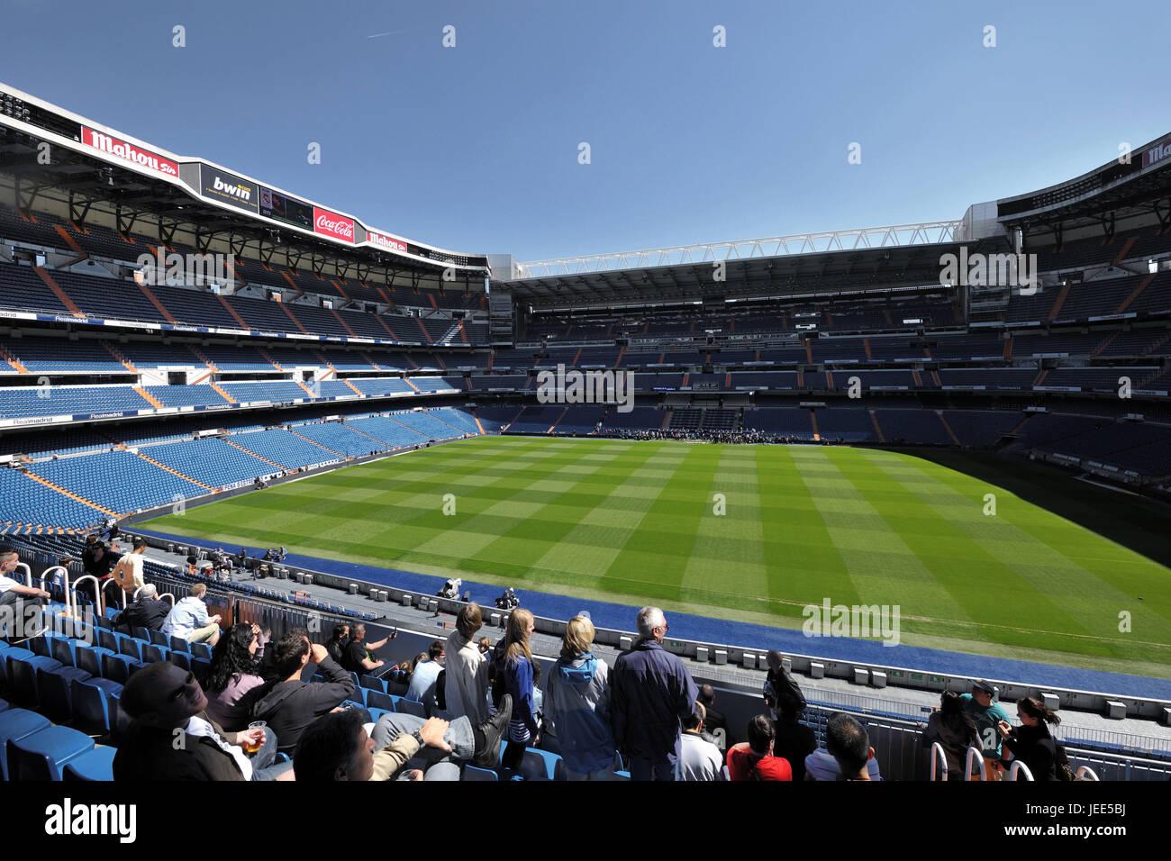 Spain, Madrid, Santiago Bernabeu stadium, stand, spectator, - Stock Image