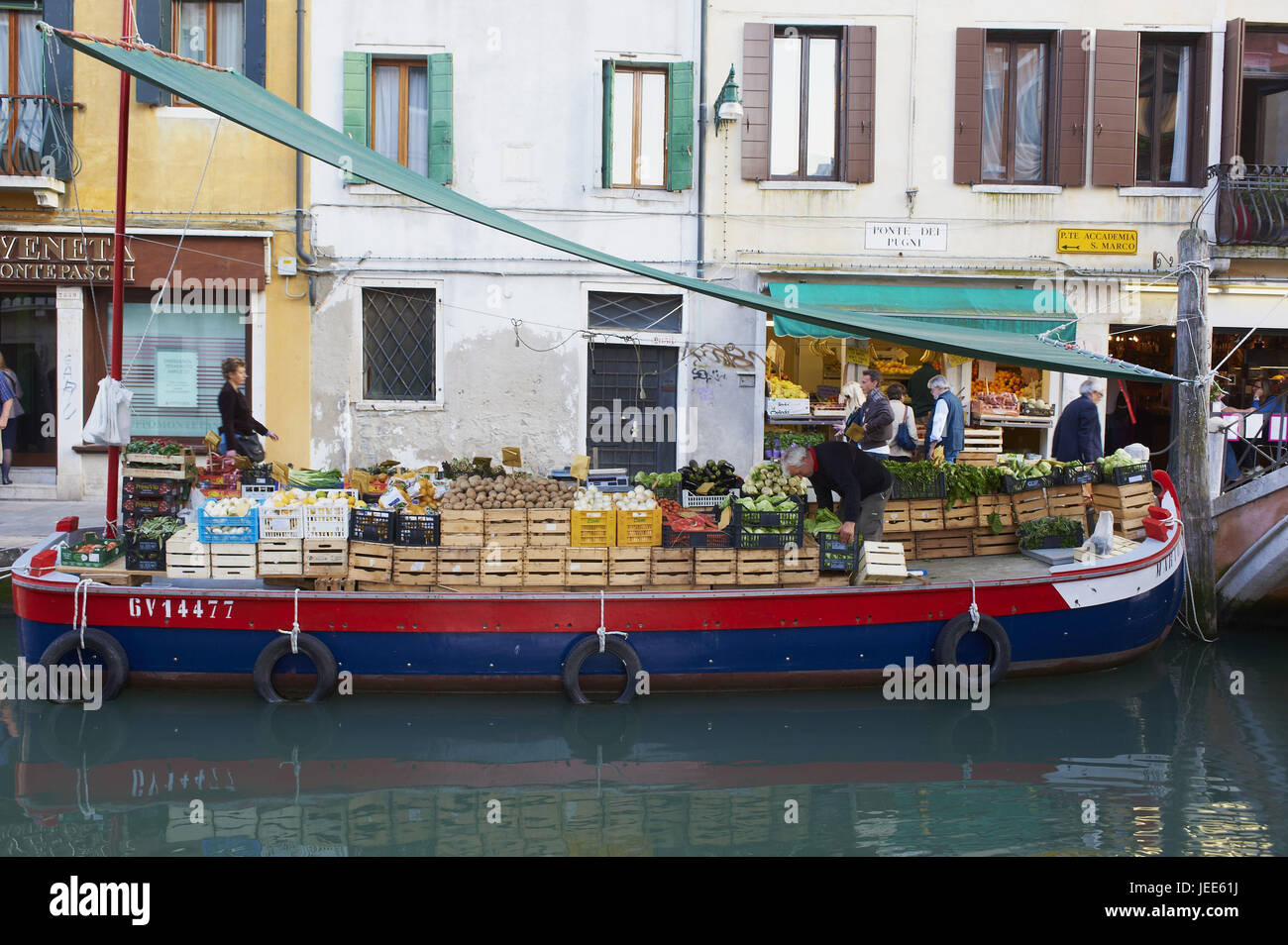 Italy, Venice, greengrocery on a boot, - Stock Image