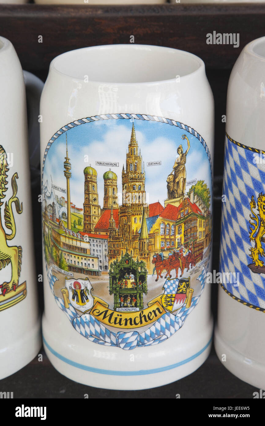 Germany, Bavaria, Munich, souvenirs, beer mugs, medium close-up, - Stock Image
