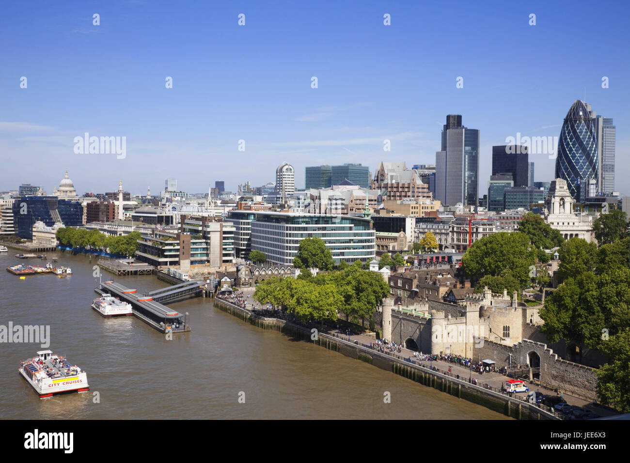 England, London, city skyline, view of Tower Bridge, the Thames, town view, town, river, skyline, ships, ship traffic, - Stock Image