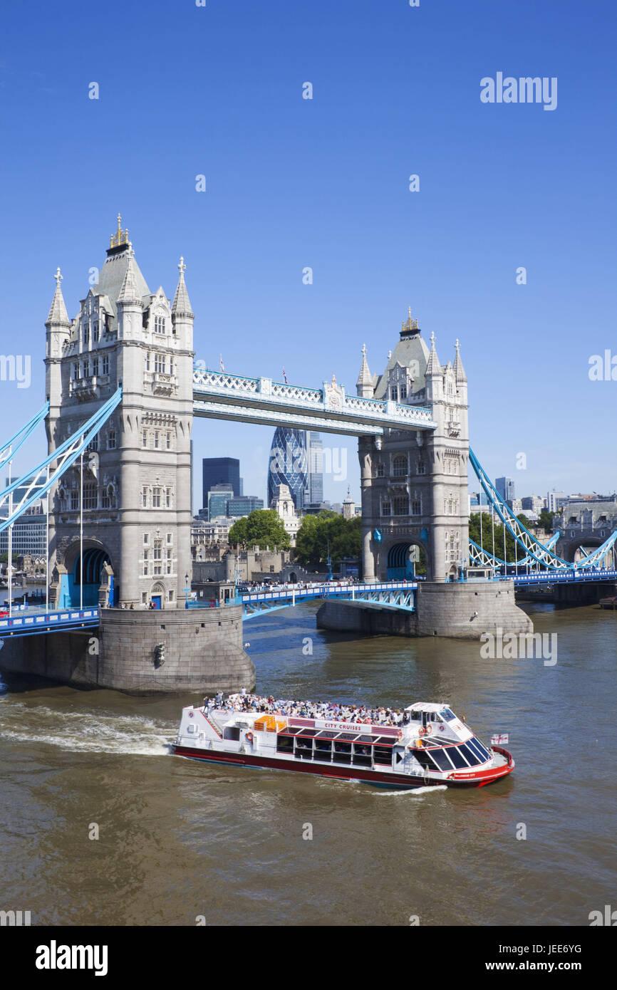 England, London, Tower Bridge, the Thames, sunshine, town, architecture, structure, landmark, monument, bridge, - Stock Image