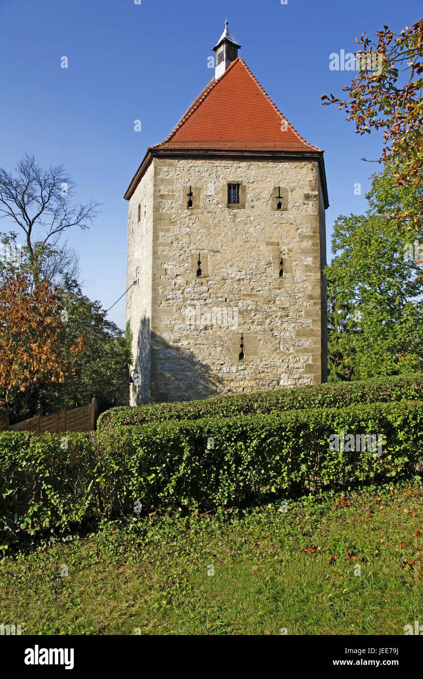 Germany, Baden-Wurttemberg, Neckar bishop's home, high tower, tower, military tower, Middle Ages, sunshine, - Stock Image