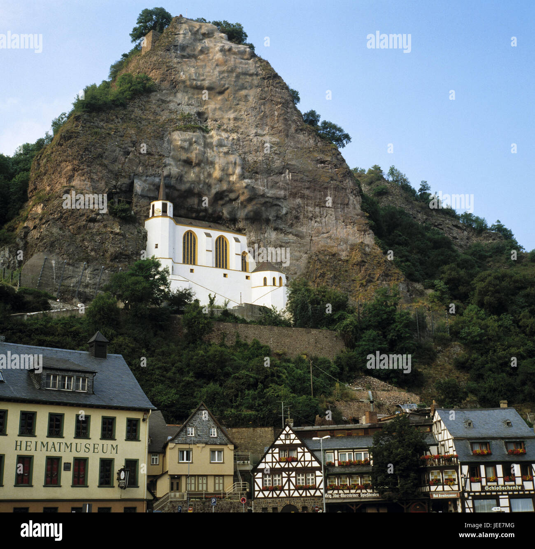 Germany, Rhineland-Palatinate, Idar-Oberstein, town panorama, rock church, Hunsrück, close valley, Near, town, - Stock Image