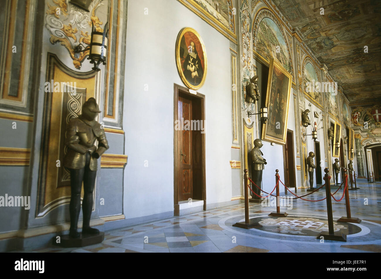Island Malta, Valletta, Old Town, Grand Master's palace, hall, painting, armaments, Maltese islands, Mediterranean - Stock Image