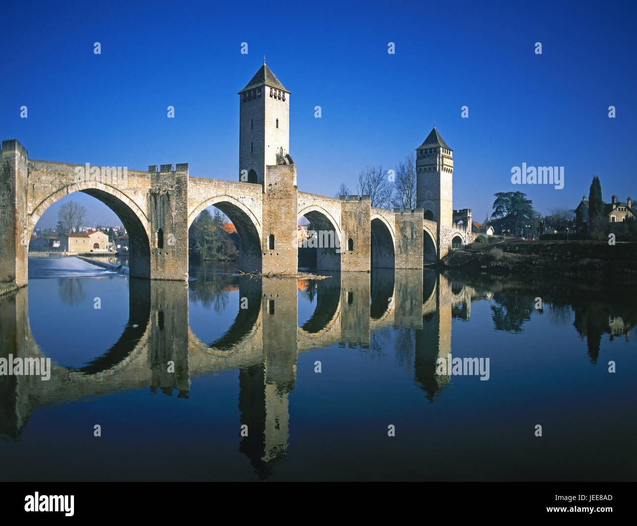 France, Cahors, flux perpendicular, Pont Valentre, mirroring, water surface, Europe, Südwestfrankreich, town, - Stock Image