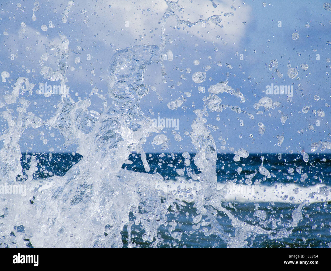 Sea, foam, close up, nature, water, waves, surf, water drop, drop, drop, drop of water, splash, nature power, spectacle - Stock Image
