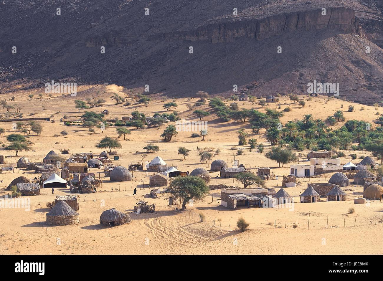 Mauritania, wild settlement, oasis Terjiit, Africa, West Africa, desert, settlement, village, houses, steelworks, - Stock Image