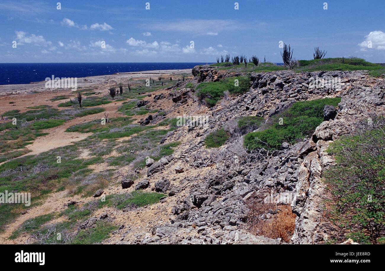 Coastal scenery, sea, the Caribbean, voucher airs, 'Washington Slagbaai national park', - Stock Image