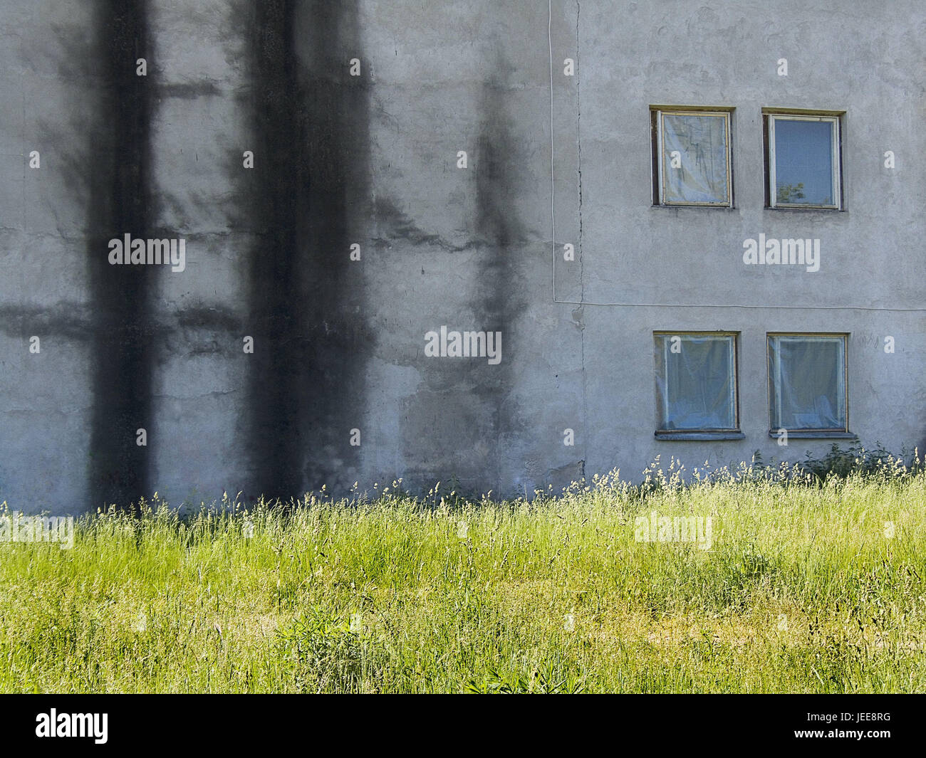 Lithuania, Vilnius, industrial zone, building, detail, meadow, the Baltic States, town, capital, architecture, facade, Stock Photo