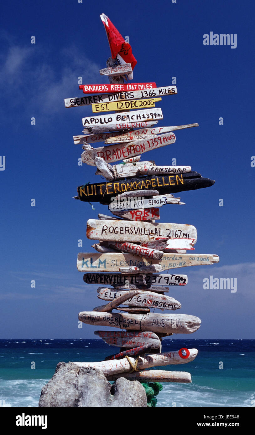 Removal signs, beach, the Caribbean, voucher airs, - Stock Image