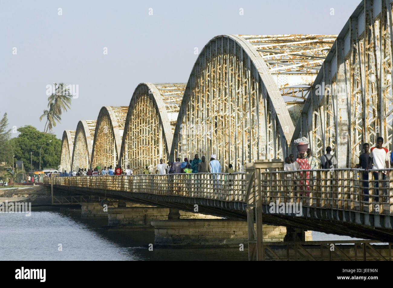 Pedestrian, Pont Faidherbe, river, Saint-Louis, Senegal, Stock Photo