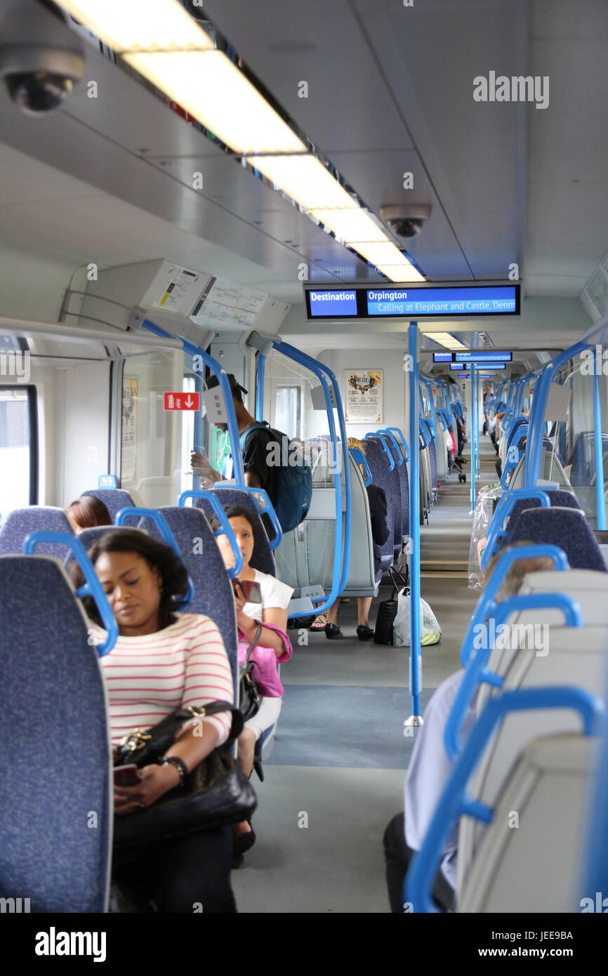 London Thameslink: Interior of a new Series 700 Siemens train recently introduced on London's Thameslink rail - Stock Image