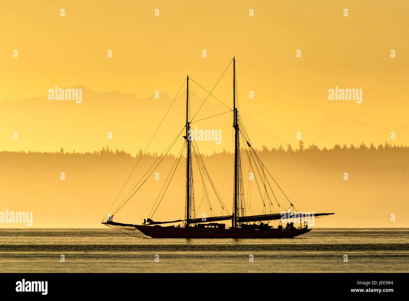 Sailing boat, sailboat wooden schooner yacht near Port Townsend