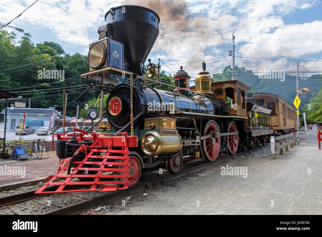 Railroad, Pennsylvania - The nonprofit Steam Into History scenic trail operates on the tracks of the defunct Northern - Stock Image