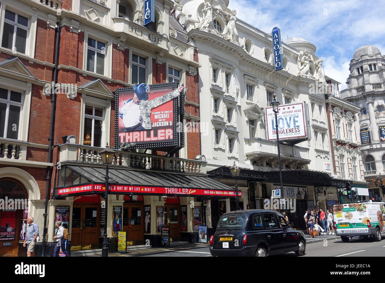 Front view of The Apollo and Lyric Theatres on Shaftesbury Avenue in London - Stock Image