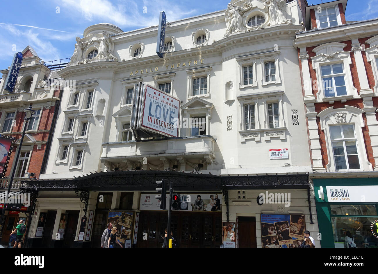 Front view of The Apollo Theatre on Shaftesbury Avenue in London - Stock Image