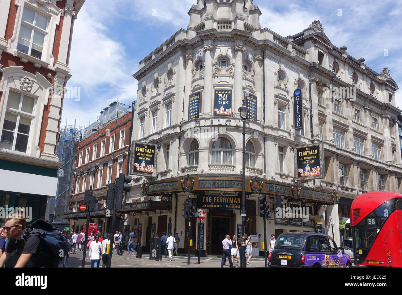 A front view of The Gielgud Theatre in Shaftesbury Avenue in London UK - Stock Image