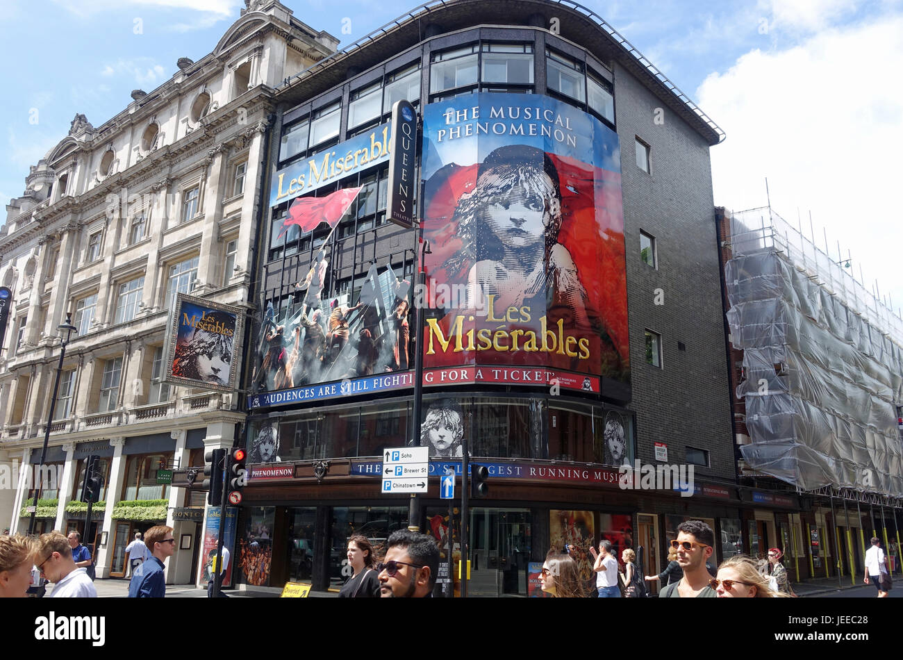 Front view of the Queen's Theatre on Shaftesbury Avenue in London - Stock Image