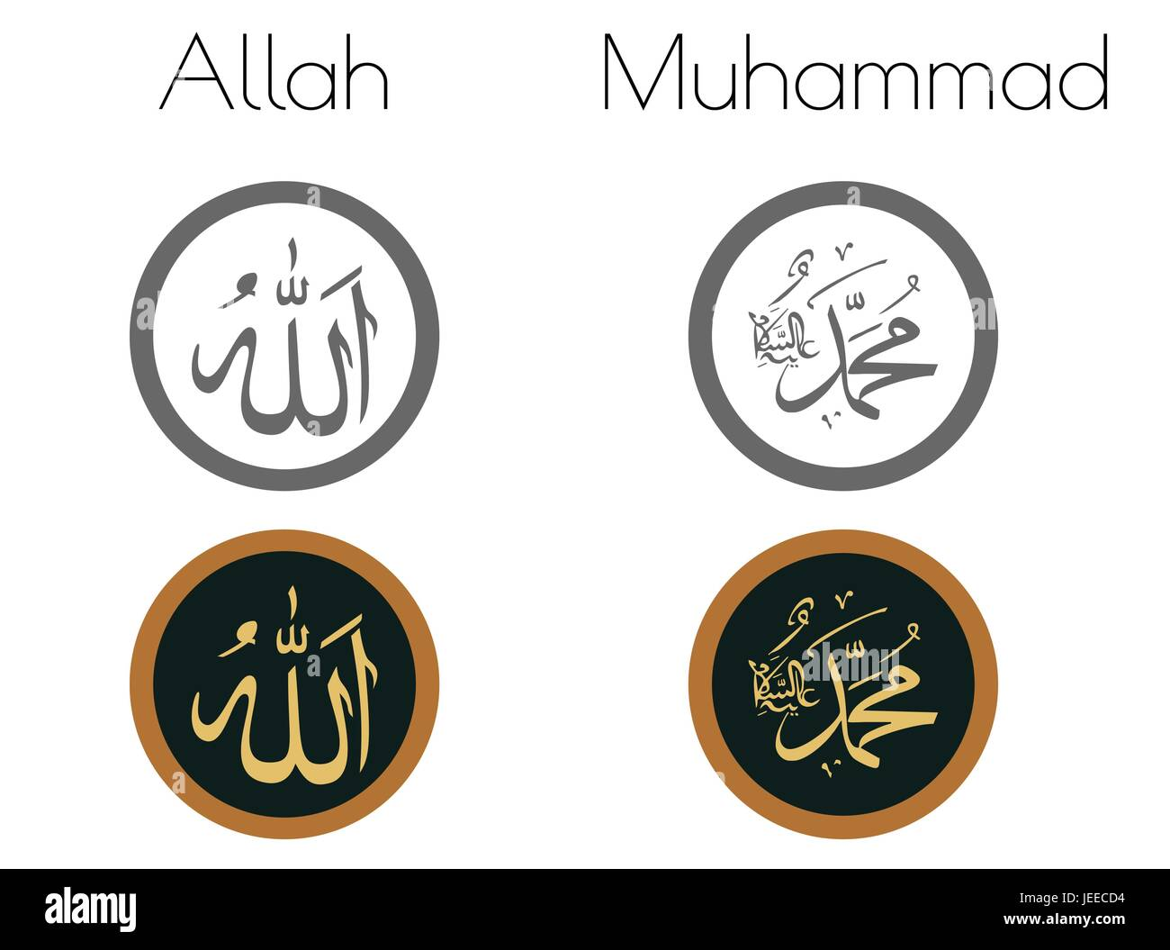 EPS 10 vector illustration of Allah & Muhammad words on white background - Stock Image