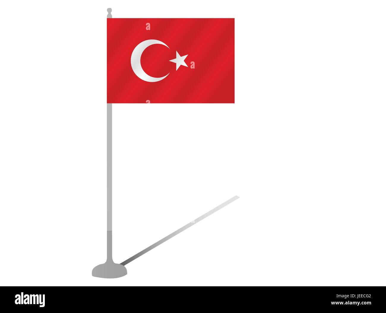 EPS 10 vector illustration of Flag Pole Turkey silhouette on white background - Stock Vector
