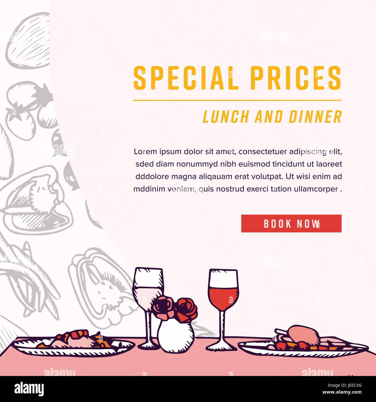 Greeting card with dinner table and special prices text stock vector greeting card with dinner table and special prices text m4hsunfo