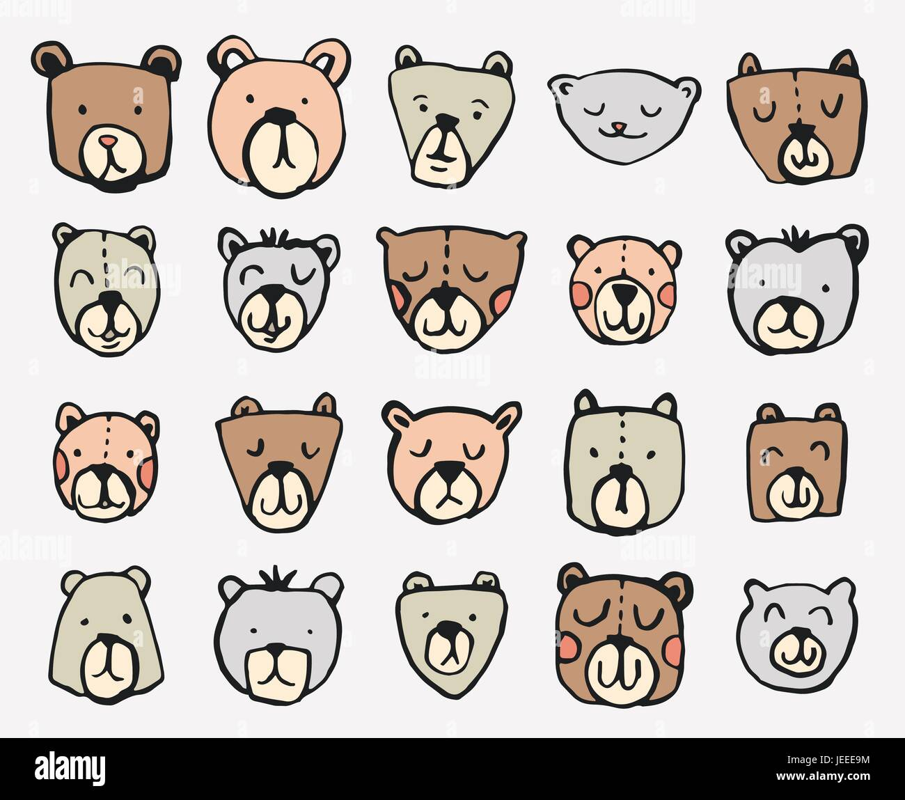 Vector icon set of teddy bears - Stock Vector