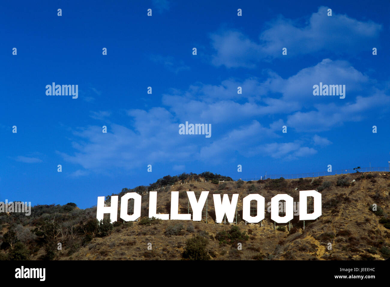 The iconic  Hollywood Sign in the Hollywood Hills above Los Angeles, CA. - Stock Image