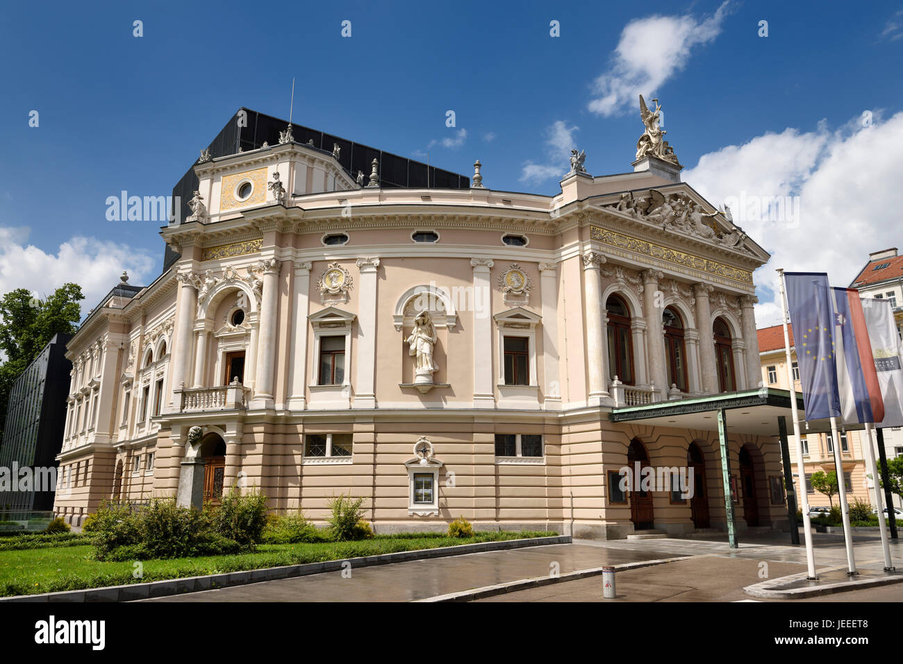 Neo Renaissance architecture of the Slovenian National Opera and Ballet Theatre of Ljubljana Slovenia in sun after - Stock Image