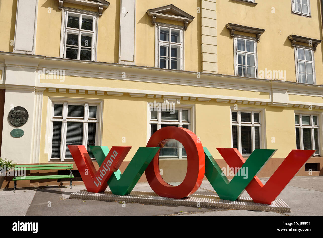 Red and green interactive WOW art installation at the Slovenian Tourist Information Centre of Ljubljana celebrating Stock Photo