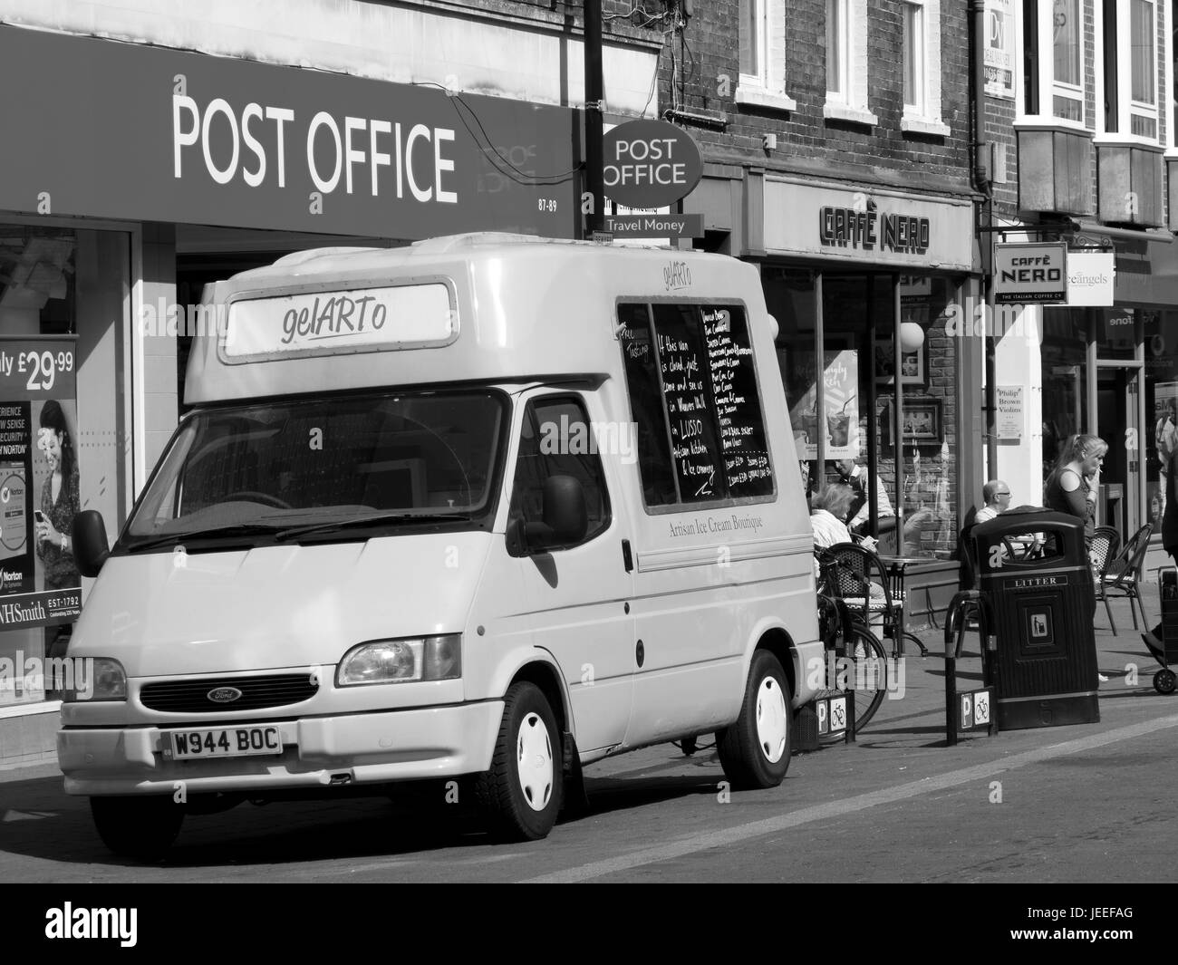Gelarto Artisan Ice Cream Boutique van parked outside W H Smith - Stock Image