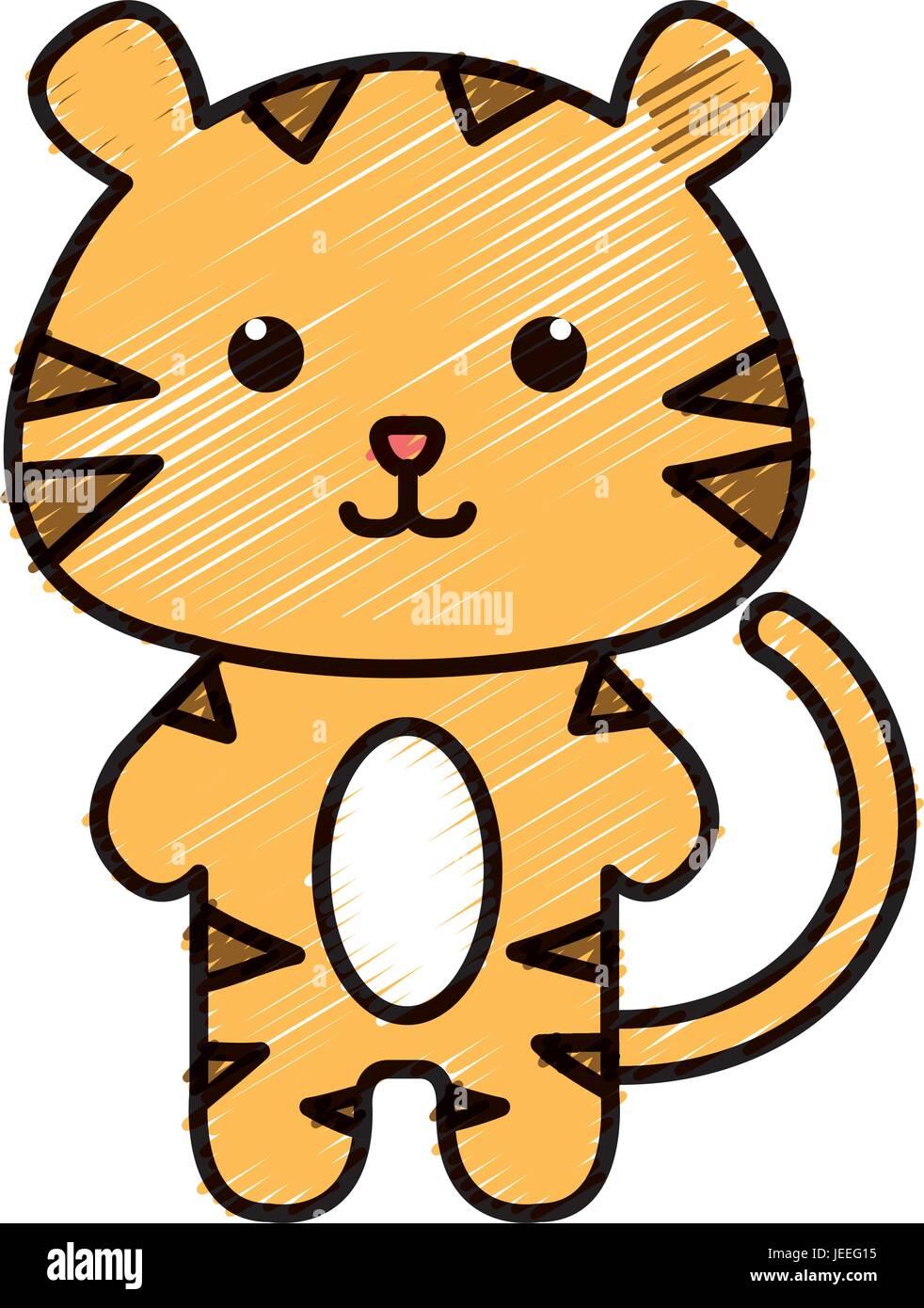 Stuffed Animal Tiger Icon Vector Illustration Design Doodle Stock Vector Image Art Alamy