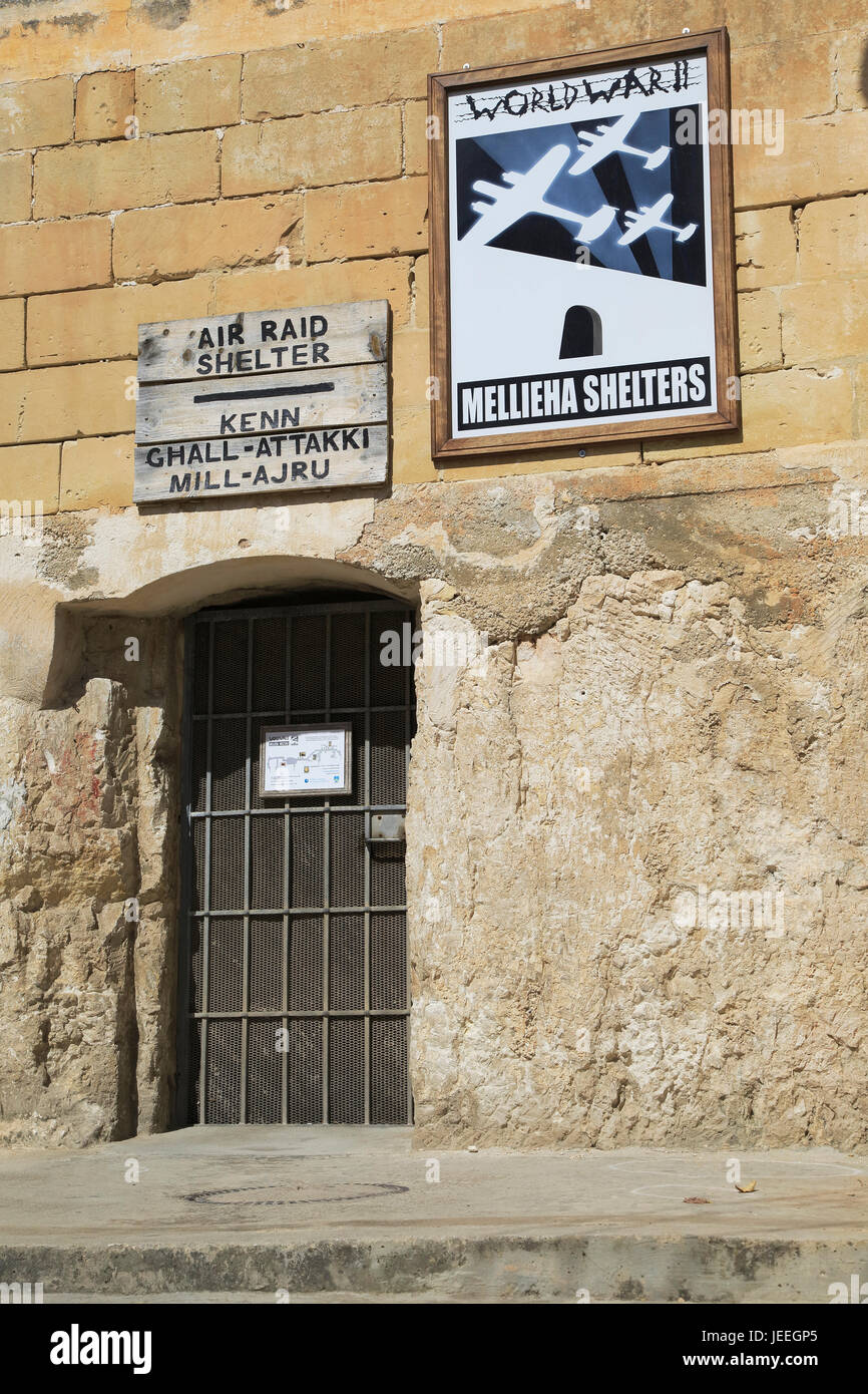 Second world war 1940s air raid shelters, Mellieha, Malta - Stock Image