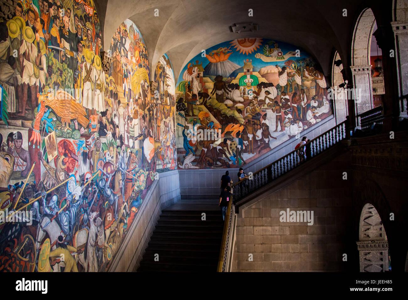 Diego Rivera's monumental stairway mural, National Palace, Palacio Nacional, Mexico City, Mexico - Stock Image