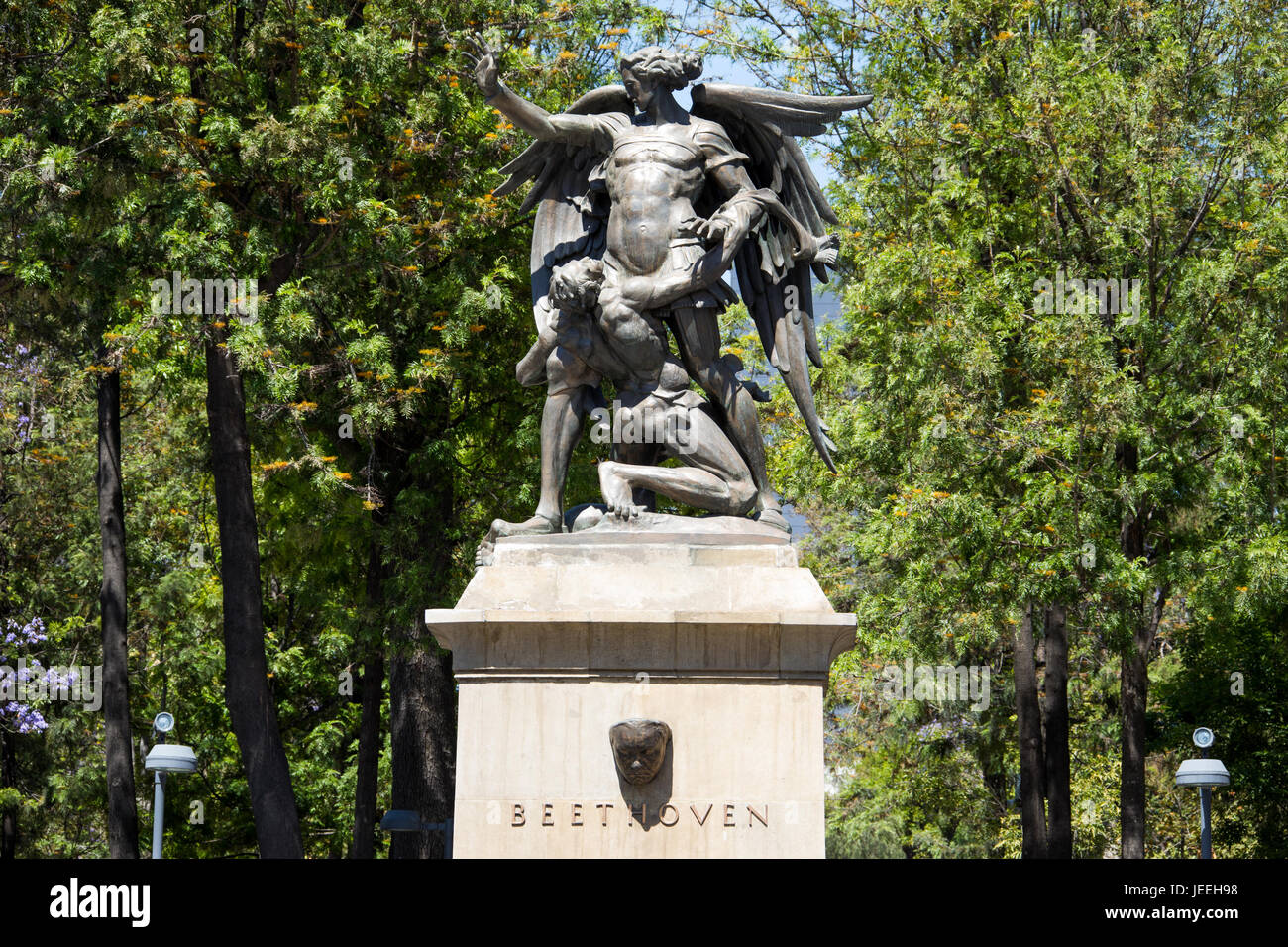Monument to Beethoven by Theodor von Gosen, Alameda Central Park, Mexico CIty, Mexico - Stock Image