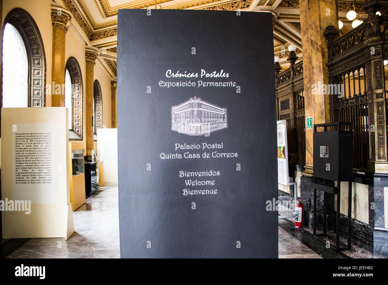 Permanent Exhibition, Palacio De Correos De Mexico or Postal Palace of Mexico City, Mexico Stock Photo