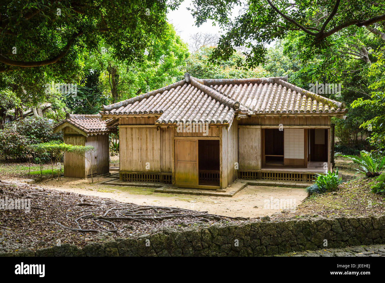 The gardens of Shikinaen, a former Royal residence are located on a small hill to the south of Shuri Castle in Naha, - Stock Image