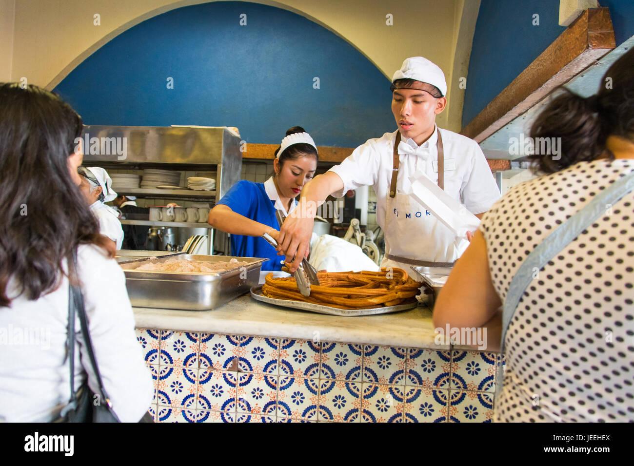 Churros at El Moro Cafe, Mexico City, Mexico Mexico City, Mexico - Stock Image