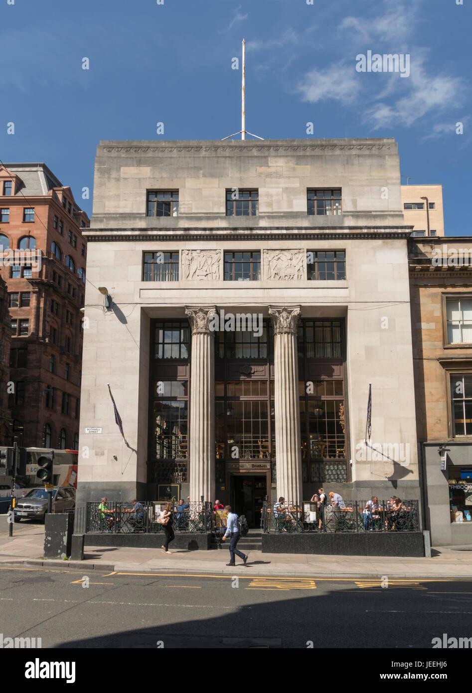 Bavaria Brauhaus, formerly National Commercial Bank building,Bothwell Street, Glasgow, Scotland, UK - Stock Image
