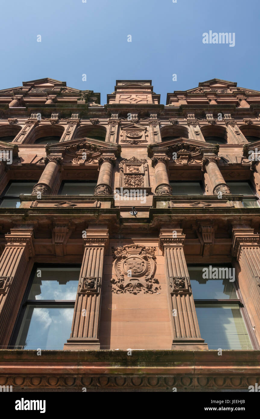 Detail of ornate carved stone facade, Bothwell Street, Glasgow, Scotland, UK - Stock Image