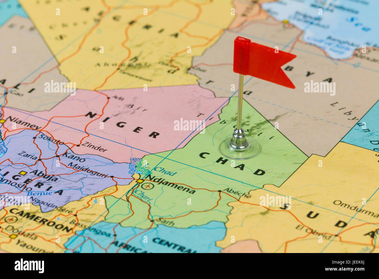 Photo of Chad marked by red flag in holder. Country on African continent. - Stock Image